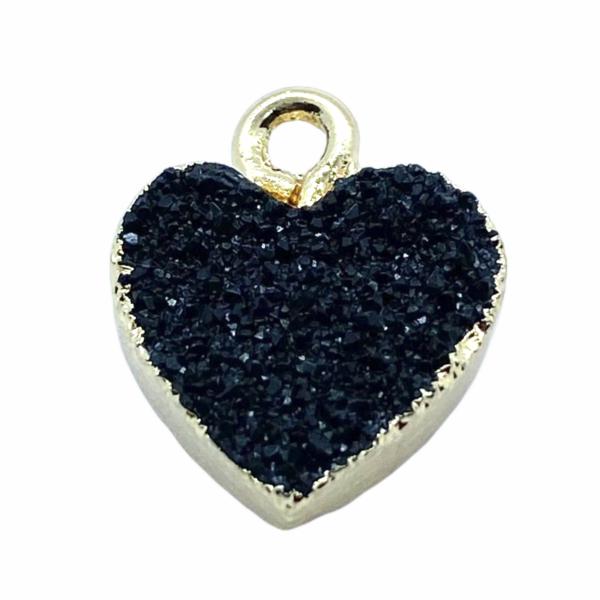 Druzy fekete gyanta szív fityegő aranyló részletekkel