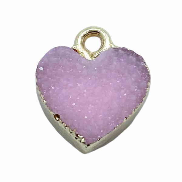 Druzy halvány rózsaszín gyanta szív fityegő aranyló részletekkel