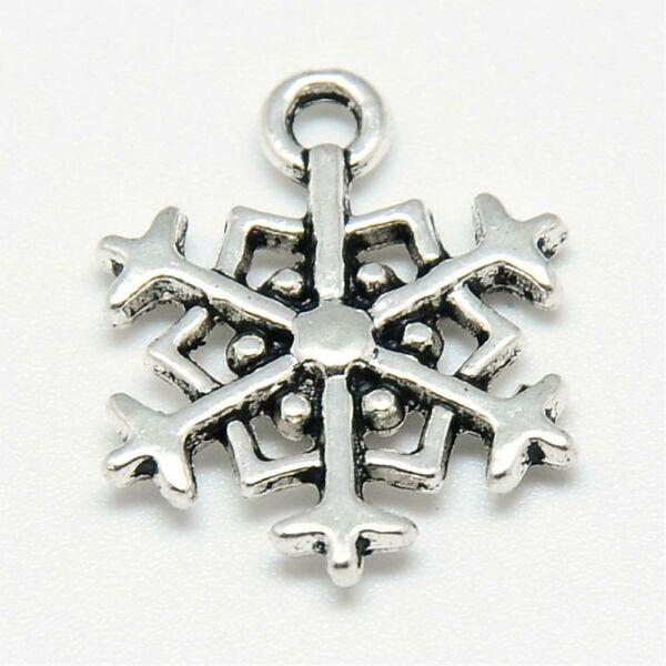 Antikolt ezüst színű hópihe fityegő