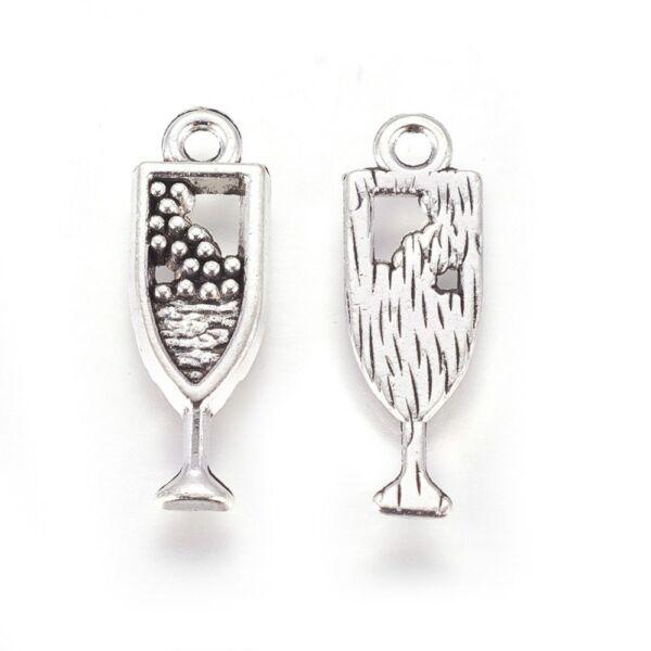 Antikolt ezüst színű pezsgős pohár/boros pohár fityegő