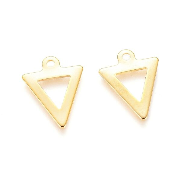 Nemesacél arany háromszög fityegő