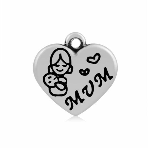 316-os Nemesacél mum / anya szív fityegő