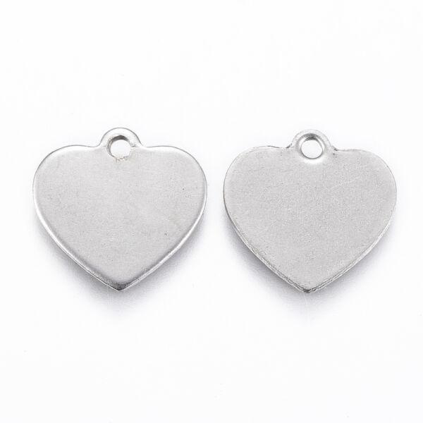 Nemesacél gravírozható szív medálka, fityegő (13mm)