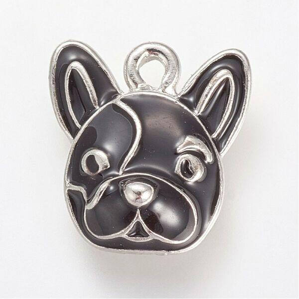 Zománcozott francia bulldog fityegő