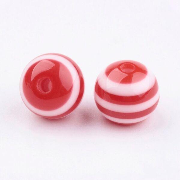 10db Piros-fehér csíkos műanyag gyöngy (8mm)