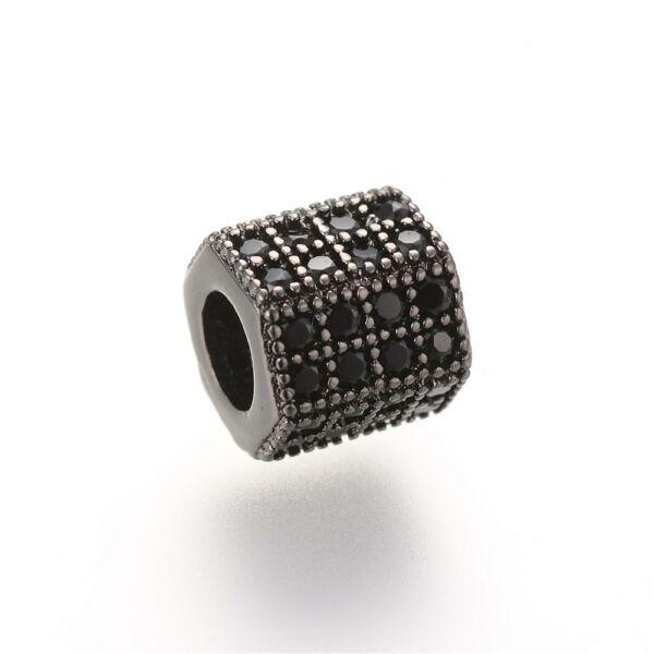 Strasszal díszített fekete színű cirkónia gyöngy (7x8mm)