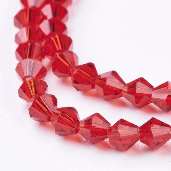 10db Piros bicone üveggyöngy (4mm)