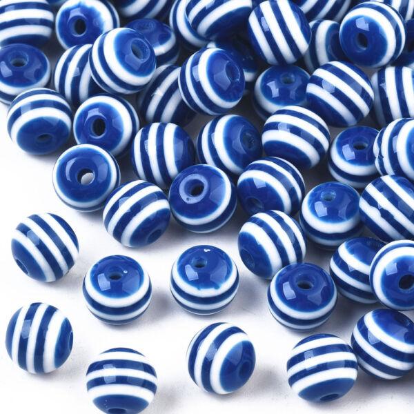 10db Kék-fehér csíkos műanyag gyöngy (8mm)