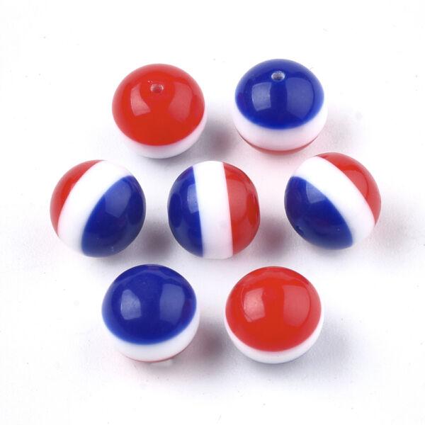 10db Piros-fehér-kék csíkos félig fúrt műanyag gyöngy (8mm)