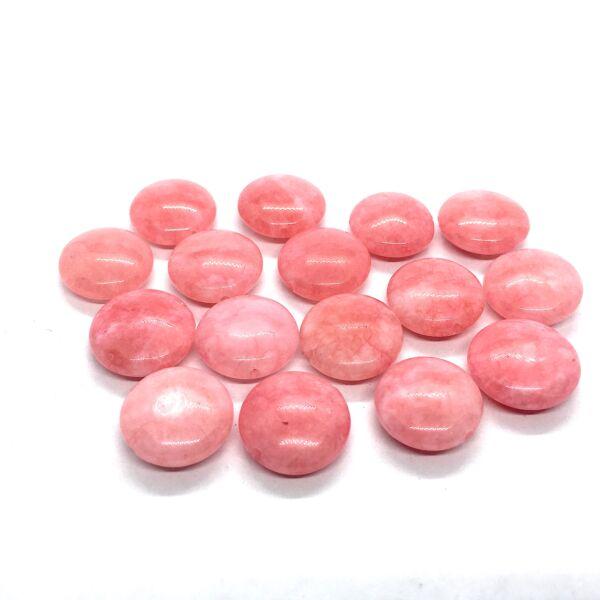 Rózsaszín jade lapos ásvány medál (15mm)