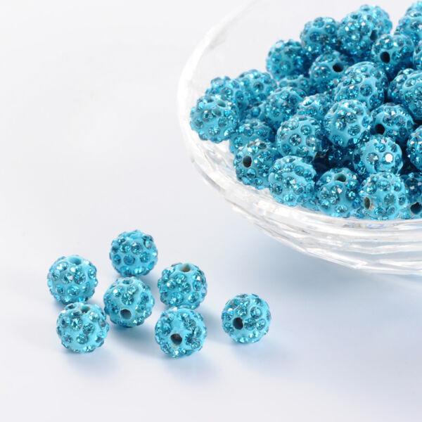 Strasszal díszített aquamarine gyöngy (8mm)