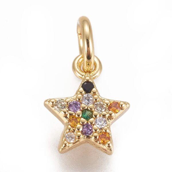 Arany színű csillag alakú cirkónia fityegő