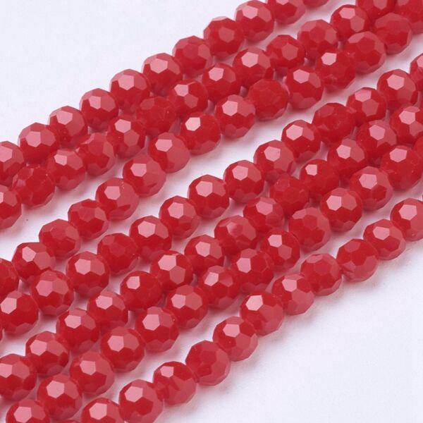 10db Csiszolt piros üveggyöngy (4mm)