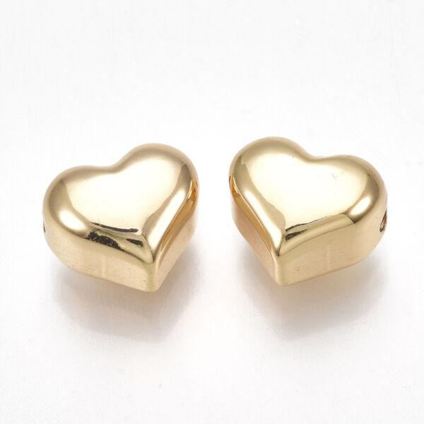 Arany nemesacél szív gyöngy (11x9x7mm)