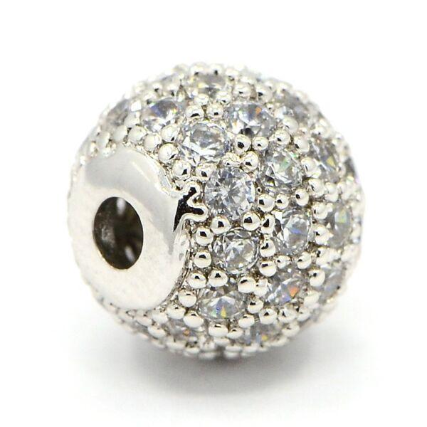 Strasszal díszített ezüst színű cirkónia gyöngy (6mm)