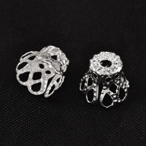 10db Antikolt ezüst színű csúcsos gyöngykupak
