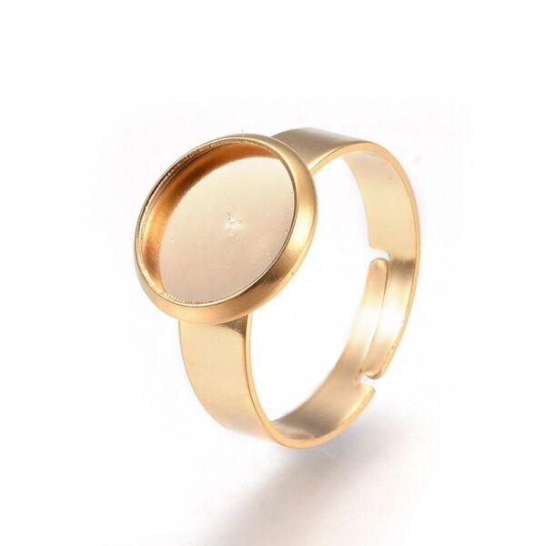 Arany nemesacél tányéros gyűrűralap (10mm) hozzá tartozó üveglencsével