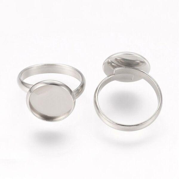 Nemesacél tányéros gyűrűralap (12mm) hozzá tartozó üveglencsével