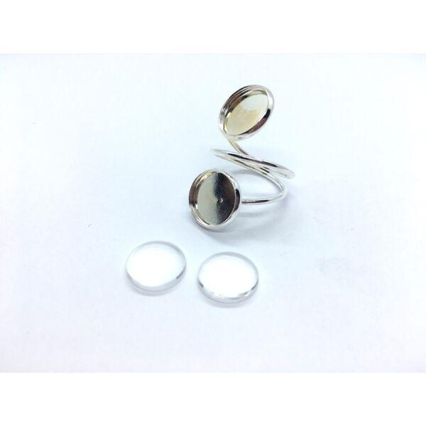 Ezüst színű dupla tányéros gyűrűalap (12mm) hozzátartozó üveglencsével