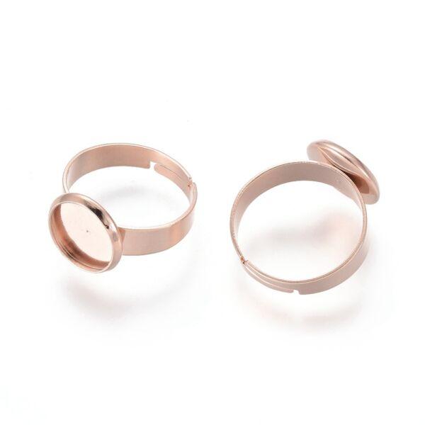 Rozé arany nemesacél tányéros gyűrűralap (10mm)