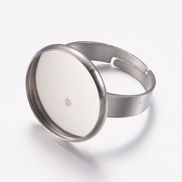 Nemesacél tányéros gyűrűralap (16mm) hozzá tartozó üveglencsével