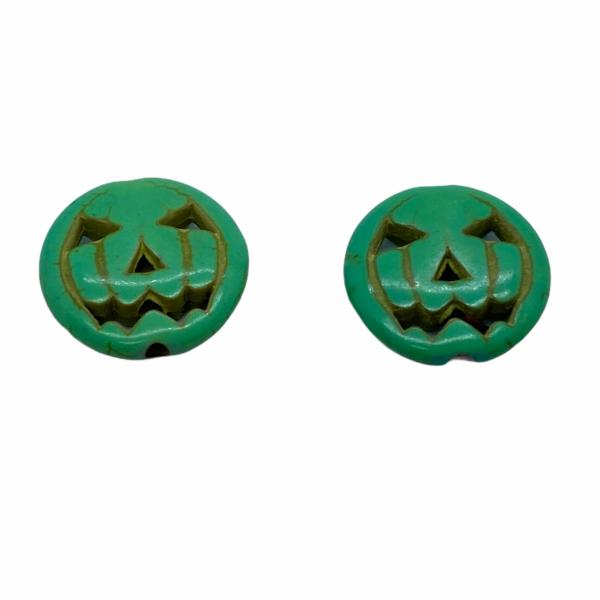 Szintetikus türkiz világos zöld halloween tök gyöngy (15x3,5mm)