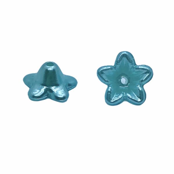 Metál kék színű virág (10X5mm)