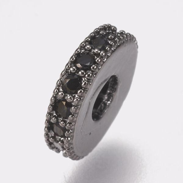 Gunmetál-fekete színű cirkónia strasszos köztes (8x2mm)