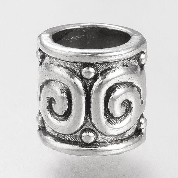 Antikolt ezüst színű csiga mintás gyöngy (8x8,5mm)