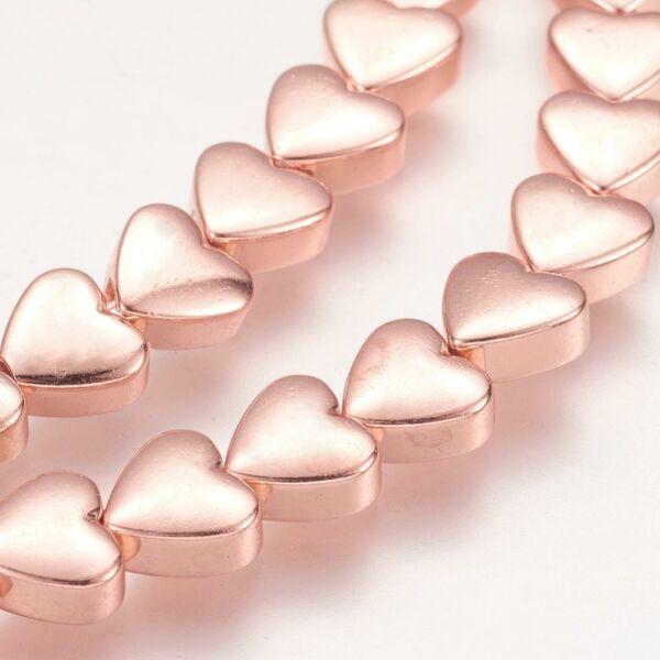 10db Rozé arany színű szív alakú köztes (6x6mm)