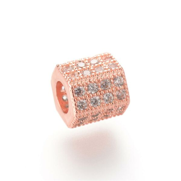 Strasszal díszített rozé arany színű cirkónia gyöngy (7x8mm)