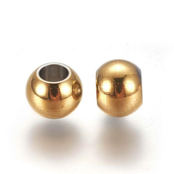 1db Arany színű nemesacél golyó alakú köztes (6x5mm)