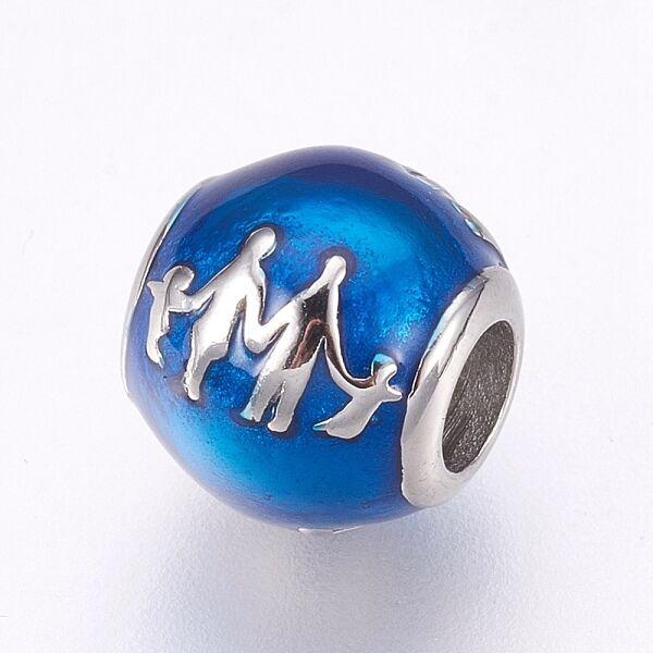 Nemesacél zománcozott családi kép kék gyöngy (10,5x10mm)