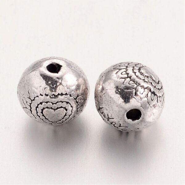 Antikolt ezüst színű szív mintás golyó alakú gyöngy (6mm)