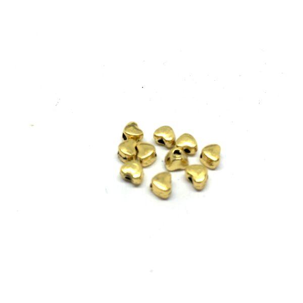 10db arany színű szív alakú köztes gyöngy (3,5x4mm)