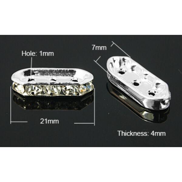 4db ezüst színű strasszos köztes (18x7mm)
