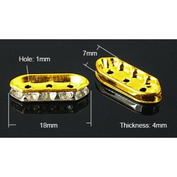 4db arany színű strasszos köztes (18x7mm)