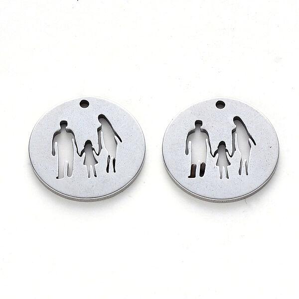 Nemesacél családi kép kör fityegő (15x1mm)