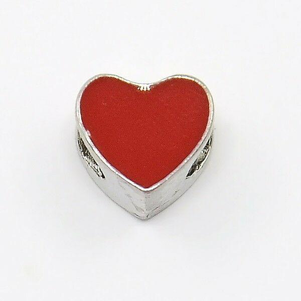 Antik ezüst színű piros szív alakú gyöngy (9x10x7mm)