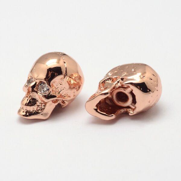 Rozé arany színű cirkónia strasszos koponya gyöngy