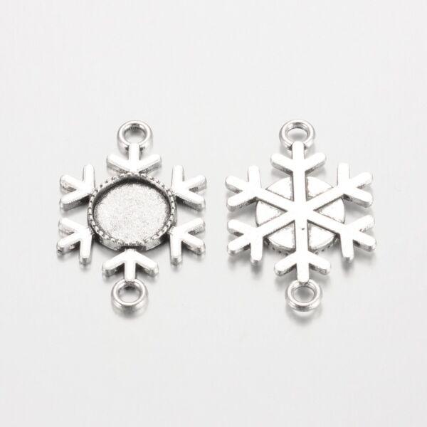Antikolt ezüst színű hópihe kapcsolóelem (12mm)