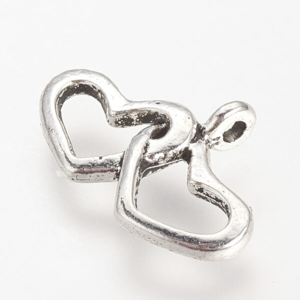 Antikolt ezüst színű dupla szív fityegő 2