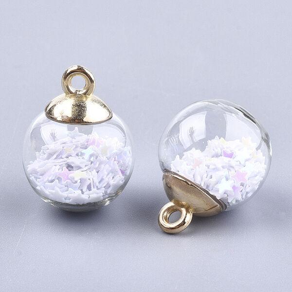 Díszítő üveggömb flitter csillagokkal töltve