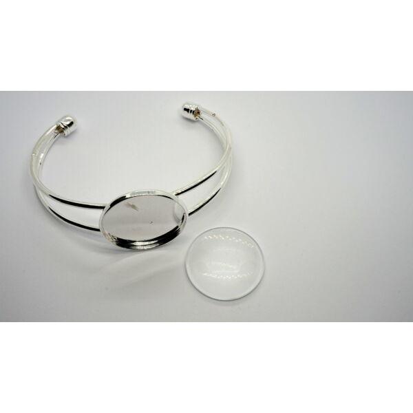 Ezüst színű karperecalap (25mm) hozzátartozó üveglencsével