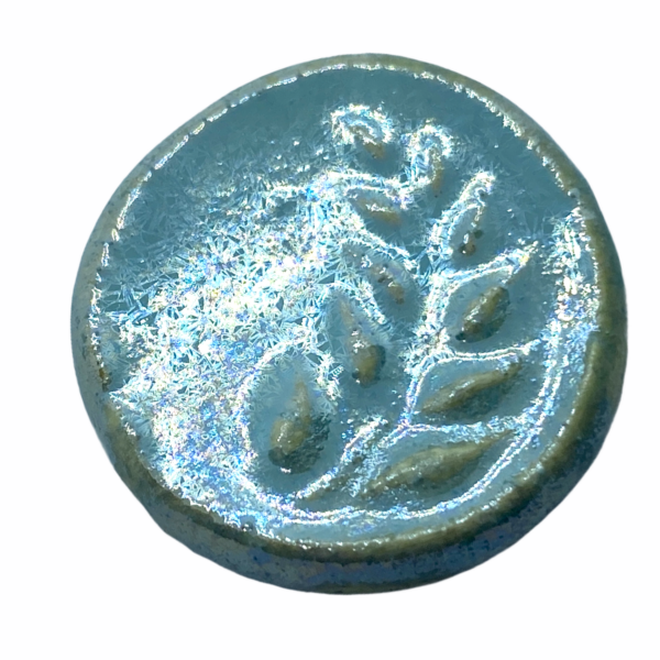 Kézműves gyöngyház leveles porcelán korong (25mm)