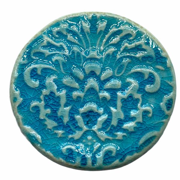 Kézműves türkiz, barokk porcelán korong (35mm)