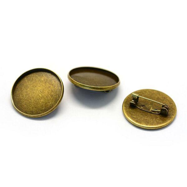 Antikolt bronz színű sima kitűzőalap (25mm)