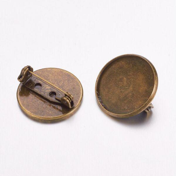 Antikolt bronz színű sima kitűzőalap, biztonsági záras (20mm)