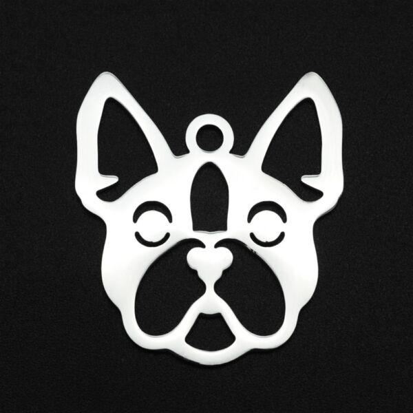 Nemesacél lézervágott francia bulldog medál