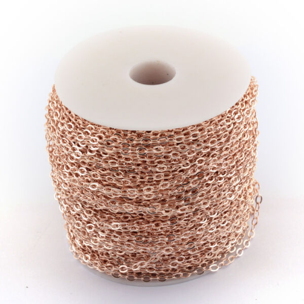 Rozé arany színű vékony keresztezett szemű lánc (3,5x2,5mm)
